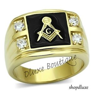 Men-039-s-14k-IP-Gold-Stainless-Steel-AAA-CZ-Masonic-Freemason-Ring-Band-Size-8-14