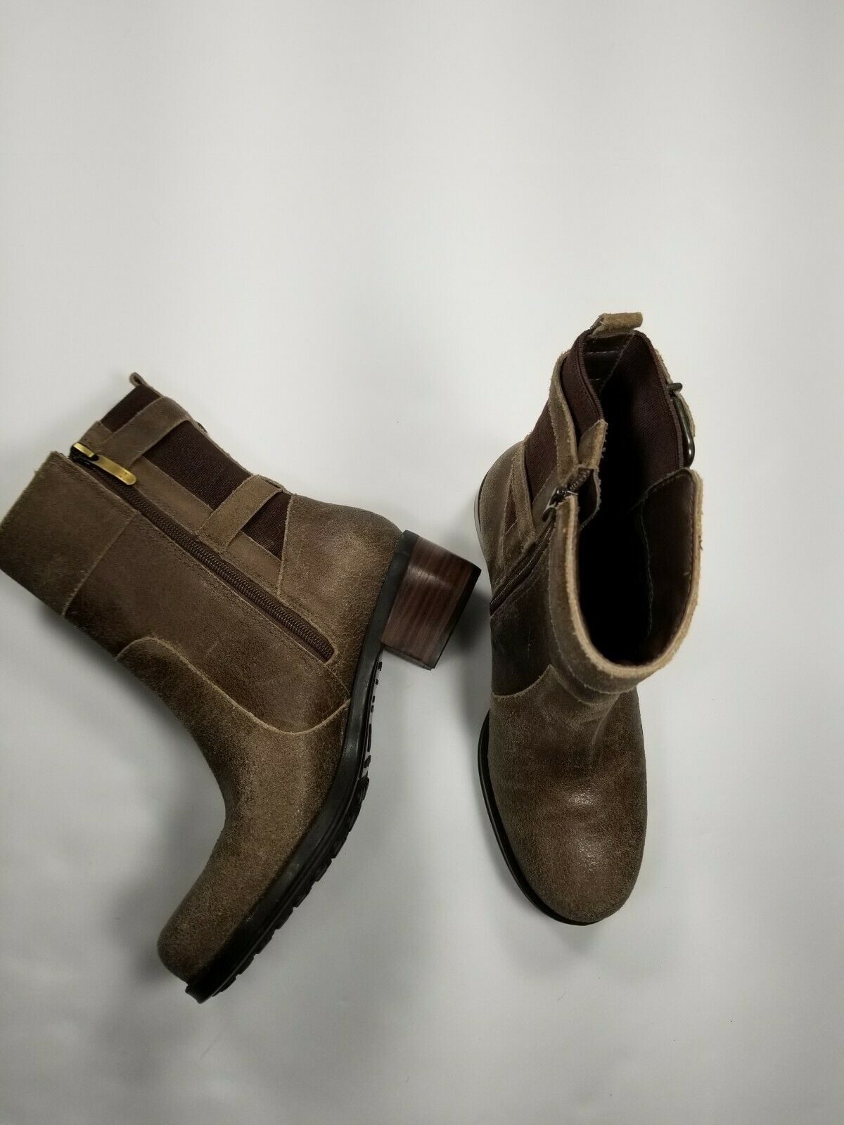Andre Assous Laura Brown Distressed Leather Waterproof Booties EUR Size 38.5 New