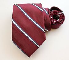 Calvin Klein Neck Tie Red with Blue & White Stripes 100% Silk