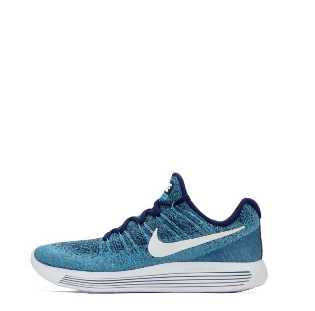3ea79d032268b Nike LunarEpic Low Flyknit 2 Men s Lightweight Sports Running Shoes  Blue White