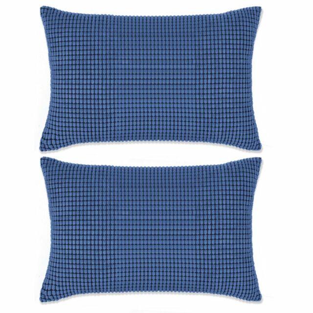 vidaXL 2x Coussin Velours 40x60 cm Bleu Oreiller Décoration Maison Intérieur