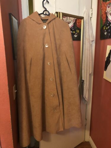 Vintage 1940s Mod Suede Cape 40s Hooded