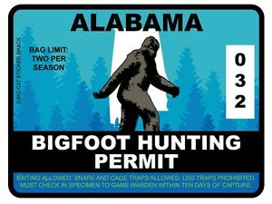 Bigfoot-Hunting-Permit-ALABAMA-Bumper-Sticker