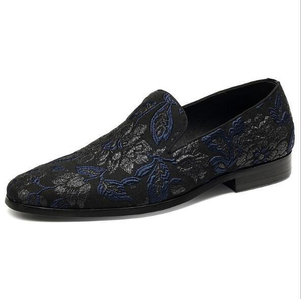 Mens moda Flowers Embroidery Slip On Loafers Party Nightclub Leather sautope