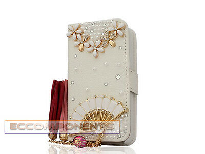 3D Bling Crystal Diamond Flip Wallet Leather Stand Case Cover For iPhone