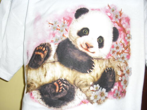 Kids Panda White Tee Shirt Brand New 50 50 blend Best seller Size 6-8 Small