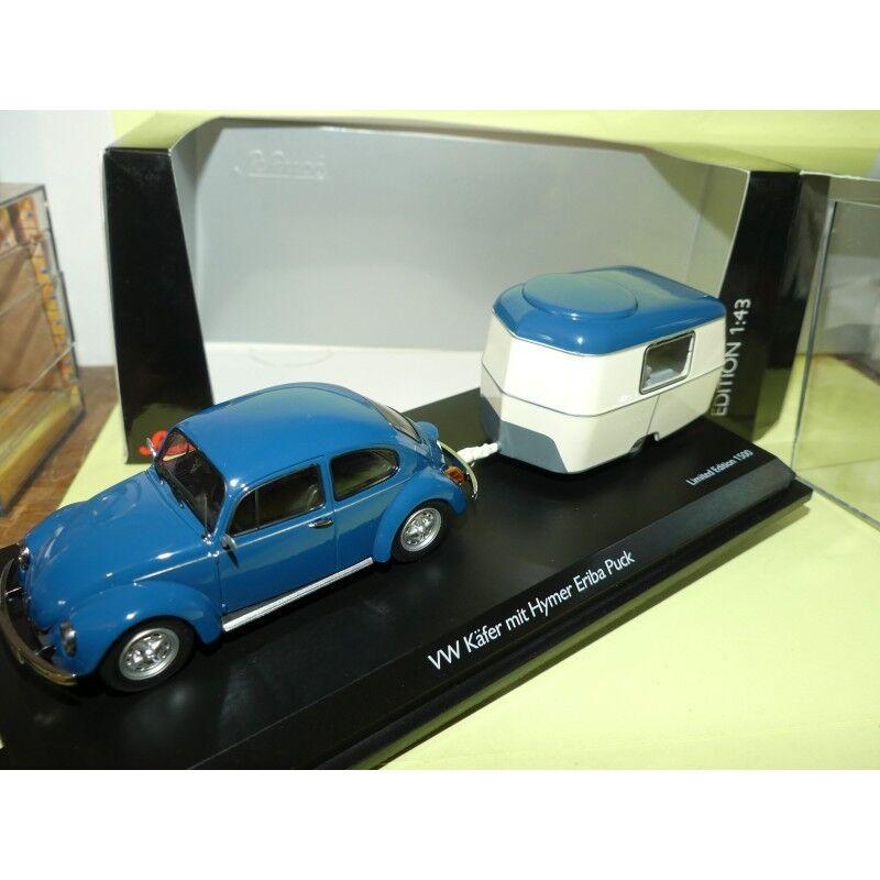 VW COCCINELLE Bleu avec Sa Caravane ERIBA SCHUCO 1 43