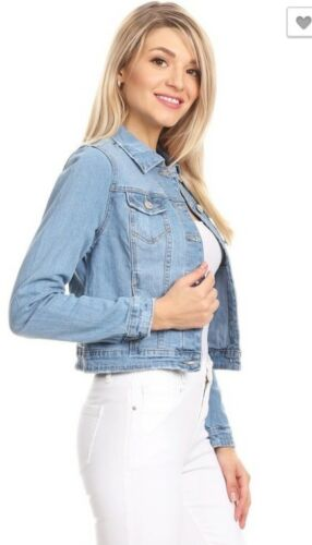 NEW Women/'s Long Sleeve Basic Denim Jean Jacket-JR.SIZE S-3XL