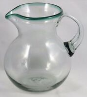 Mexican Glass Pitcher Green Rim Clear Hand Blown Glassware Mexico 3 Quart