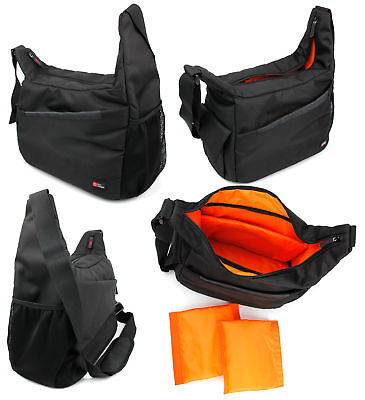 Shoulder 'sling' Bag In Black & Orange For Olympus 118760 10x50 Dps-i Binoculars Binocular Cases & Accessories Cameras & Photo