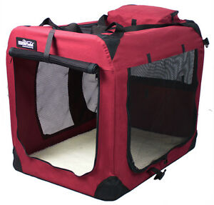 Image is loading EliteField-Maroon-3-Door-Folding-Soft-Dog-Crate-