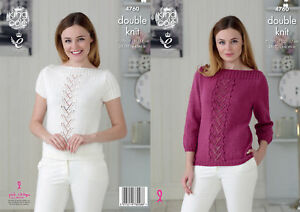 3ab29d0de Image is loading King-Cole-Ladies-Double-Knitting-Pattern-Lace-Detail-