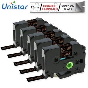 TZe-334-cinta-de-etiquetas-P-Touch-12mm-compatible-for-Brother-Oro-En-Negro-TZE-231-5PK