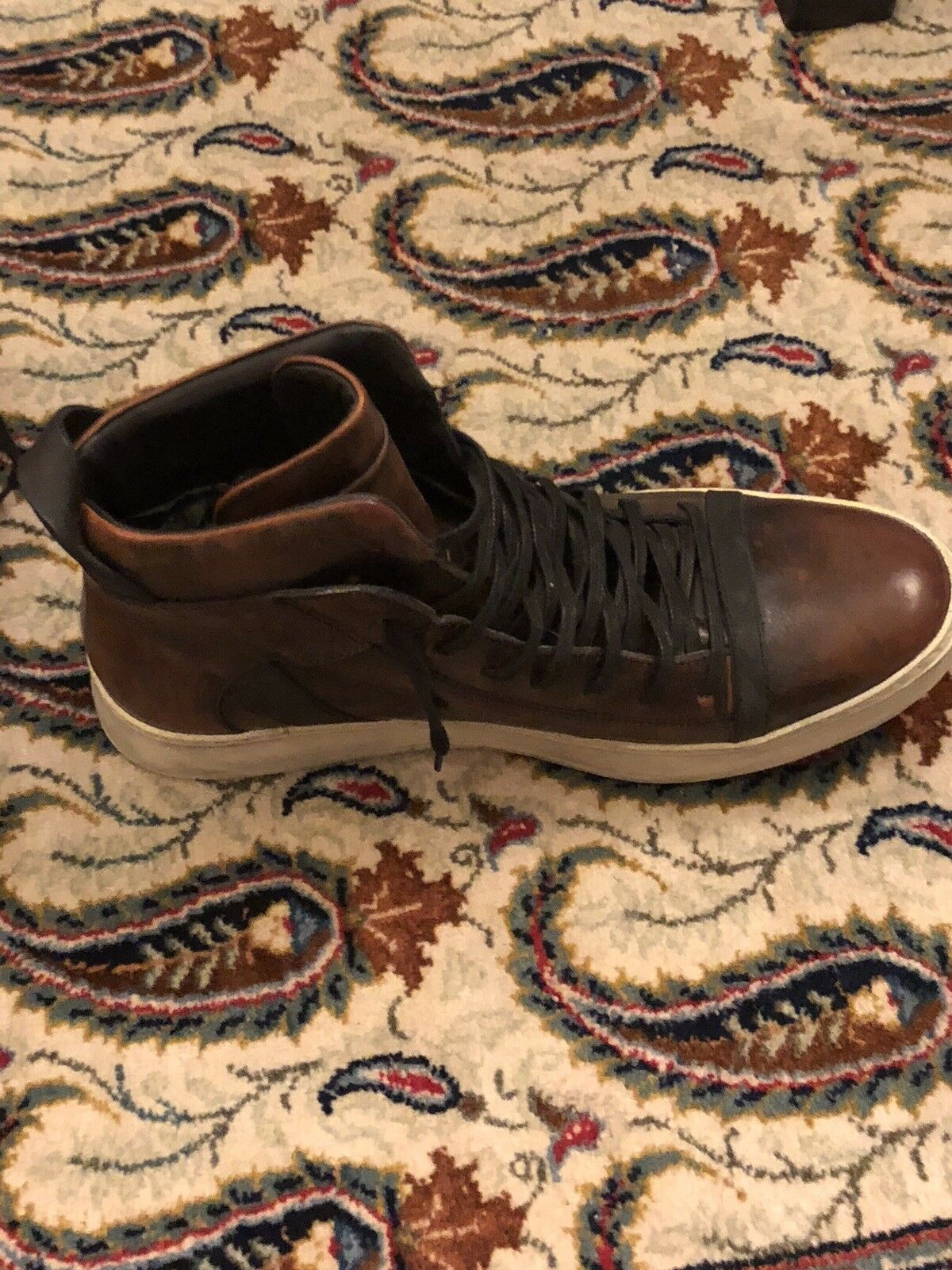 Scarpe casual da uomo  John Varvatos 315 Brown Leather High-Tops, Size 9.5M, Pre-Owned