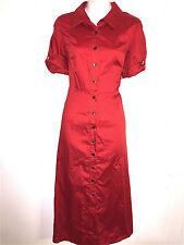 TALBOTS PETITE LADIES RED 100% COTTON SHIRT STYLE WASHABLE SPRING DRESS ~SZ 10 P