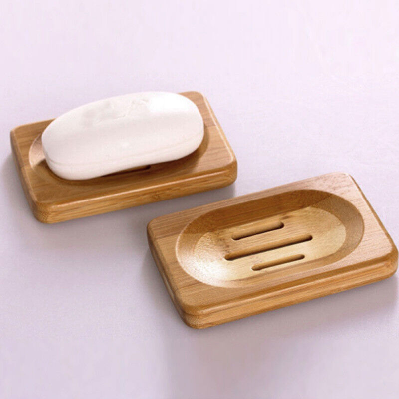 2PC Natural Bamboo Wood Soap Dish Rack Storage Holder Bath Shower Plate Bathroom