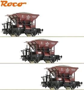 Roco-H0-51159-2-Talbot-Schotterwagen-Set-der-DB-3-teilig-NEU