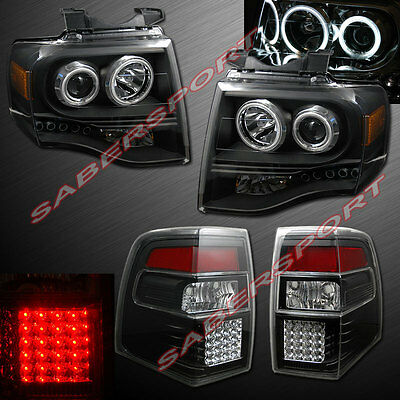 2007-2014 FORD EXPEDITION CCFL HALO PROJECTOR HEADLIGHTS BLACK + LED TAIL LIGHTS