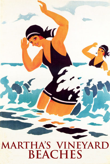 GIRLS SWIM SWIMMING MARTHA'S VINEYARD BEACHES SUMMER TRAVEL VINTAGE POSTER REPRO