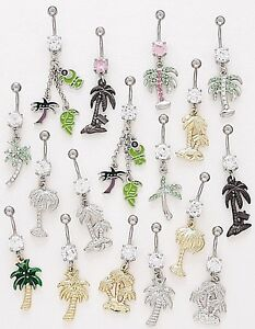 Details About 5 Cz Dangle Belly Button Rings Palm Tree Elegant 14g Wholesale Gem Fancy Navel