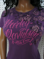 Harley Davidson Tattoo Dyed Purple Rhinestone Tee Shirt Top Soft