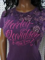 Harley Davidson Tattoo Dyed Purple Rhinestone Tee Shirt Top Soft
