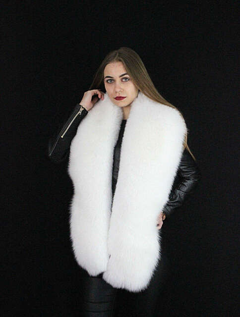 White Fur Stole >> Arctic Fox Fur Stole 70 Saga Furs Boa Pure White Collar Thick And