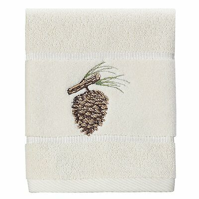 Creative Bath Products Northwoods Embroidered Wash Cloth Pine Cones
