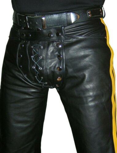 Jeans Pantaloni nuovi in pelle merluzzo Pantaloni neri Pantaloni pelle di in pelle gialli in Pantaloni Novità qxrwx14X