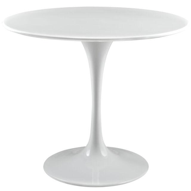 "36"" mid century modern white mcm fiberglass ssarinen tulip style dining table"