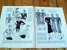 1930s 1940s GERMAN FASHION & SEWING PATTERN MAGAZINE - Vintage 30s 40s DRESSES