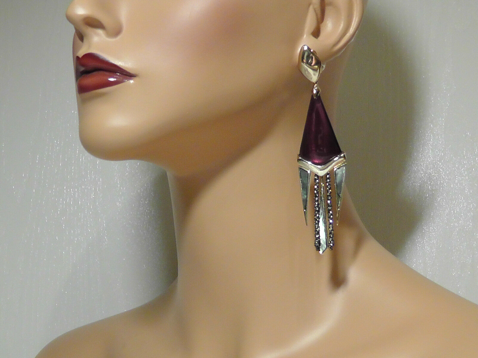 Alexis Bittar Bordeaux Lucite & Mother-Of-Pearl Chandelier Clip-On Earrings. 325