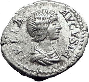 JULIA-DOMNA-209AD-Rome-Silver-Authentic-Ancient-Roman-Coin-JUNO-Regina-i65085