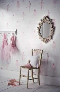 Image Is Loading Pirouette Ballet Girls Bedroom Pink Glitter Enhanced  Metallic
