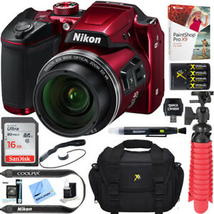 Nikon-COOLPIX-B500-16MP-40x-Zoom-Wi-Fi-Digital-Camera-Red-16GB-12-Pcs-Bundle