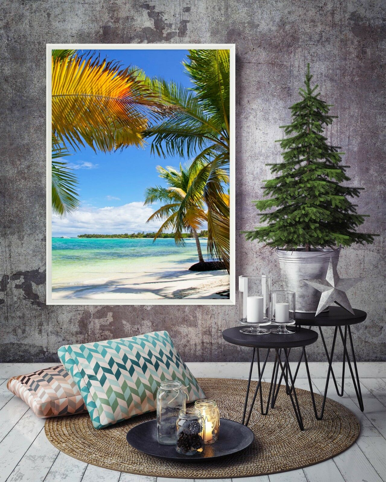 3D Coconut Tree Shadow 5 Framed Poster Home Decor Print Painting Art AJ UK