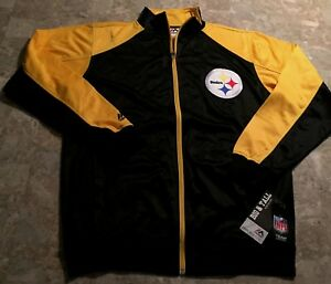 Pittsburgh-Steelers-Full-Zip-Track-Jacket-Medium-Tall-Black-Two-Sided-Logos-NFL
