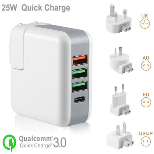 Quick Charge 3.0 25W 4-Port USB Travel Wall Charging Station Foldable Plug+Cable