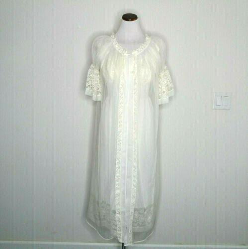 Vtg Ivory Nylon Lace NAN FLOWERS Sz 34 Bridal Nigh