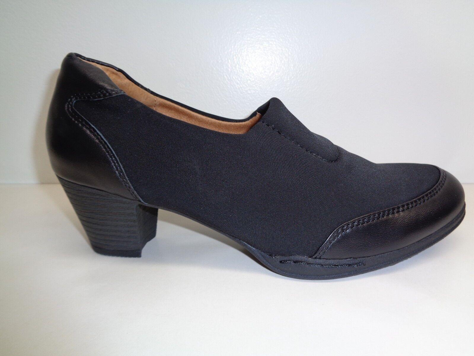 Montana Size 7.5 M COLETTE Black Fabric Leather Pumps Heels New Womens Shoes