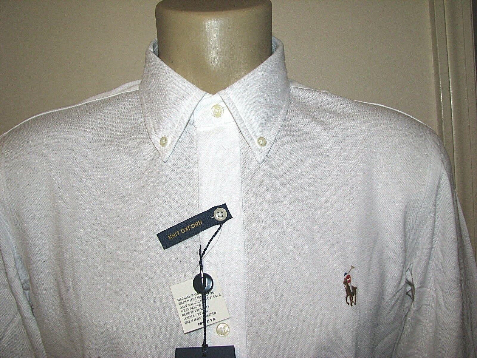 Men's  (XL) POLO-RALPH LAUREN White Knit Pique Oxford Shirt