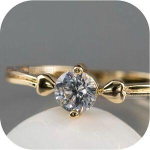18K-Yellow-Gold-Plated-women-039-s-wedding-Ring-Simulated-Diamond-classic