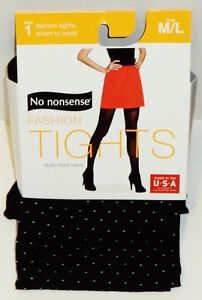 """Hosiery & Socks Practical No Nonsense Fashion Tights Black Pin Dot M/l 5'2"""" To 6' Weighing 145lb To 210lb Clothing, Shoes & Accessories"""