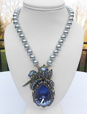 HEIDI DAUS BLUE FAUX PEARL NECKLACE WITH LARGE BLUE SWAROVSKI CRYSTAL PENDANT