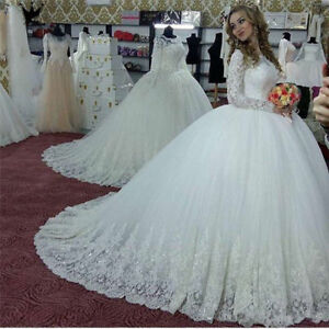 White-Ivory-Lace-Appliques-Muslim-Wedding-Dresses-Long-Sleeve-Bridal-Ball-Gowns