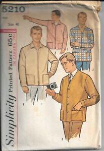 SIMPLICITY 5210 Vintage Sewing Pattern Men's Leisure Jacket and Zip Jacket