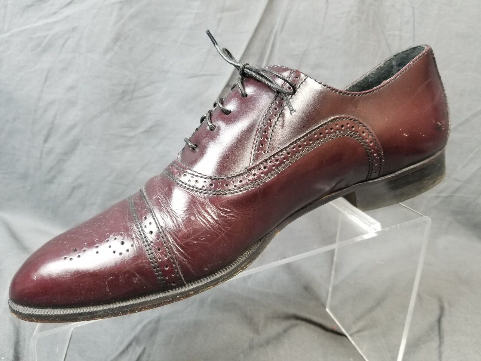 Father & Son Burgundy Leather Brogued Cap Toe Oxford Men's US 9.5D