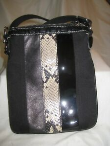 Details about Coach Crossbody Bag with Leather, Patent Leather & Python  Snakeskin Strip NWOT