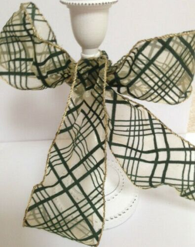 HOLLY PLAID Green Flock Velvet on Gold Sheer Organza Luxury Wire Edged Ribbon