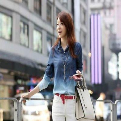 Vintage Womens Long Sleeve Jean Denim Tops Blouse Loose Shirt Blue